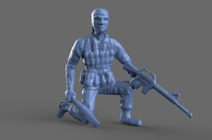 miniature green army machete 3D