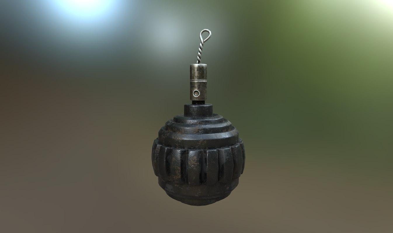 kugelhandgranate grenade germany pbr 3D model