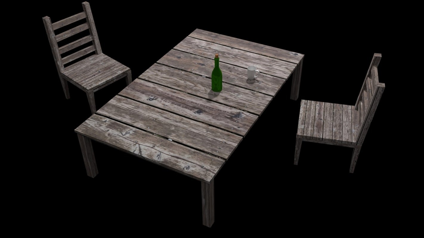 3D wooden chair table simple model
