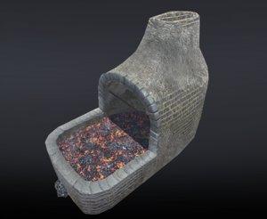 3D blacksmith forge smith model