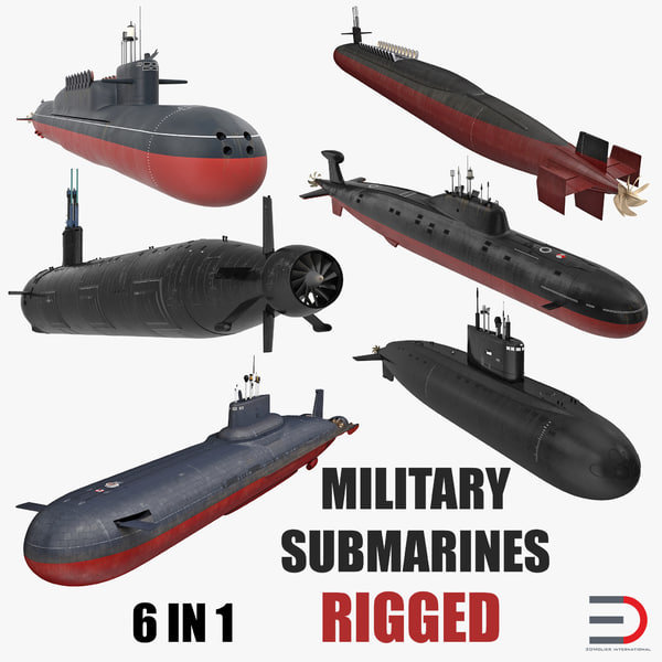 military submarines rigged 3D model