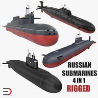 3D russian military submarines rigged model