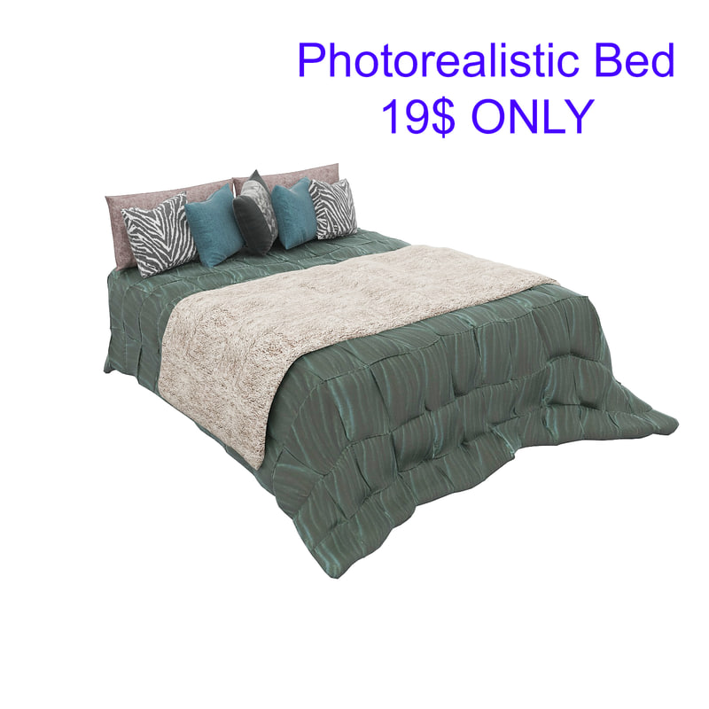 3D bed photorealistic realistic model