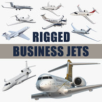 Rigged Business Jets 3D Models Collection 3