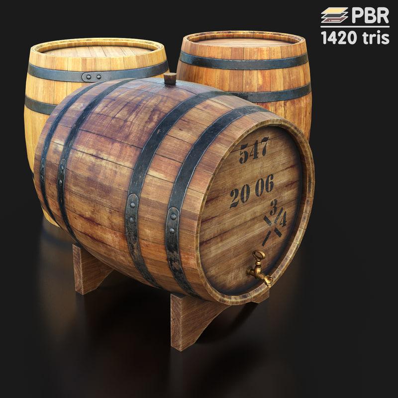 3D low-poly wooden barrel