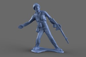3D miniature green army man model
