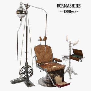 vintage dental chair 3D