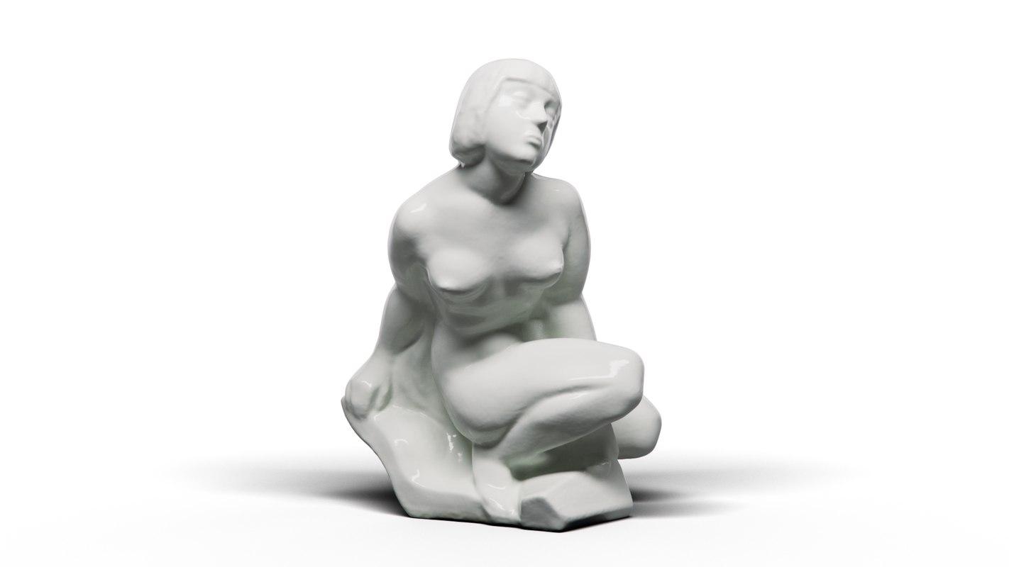 kneeling nude 3D model