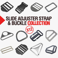 3D adjuster slides straps buckles model