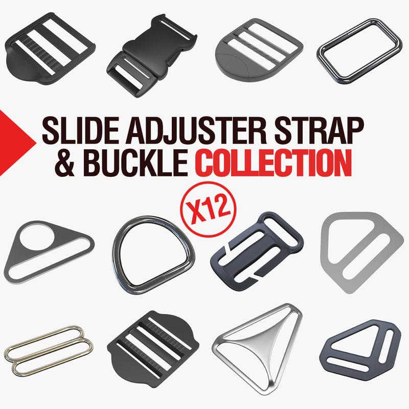 3D adjuster slides straps buckles model