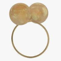 3D golden ring pearls model