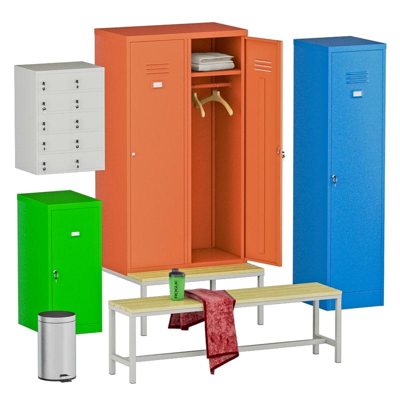 3D locker room set