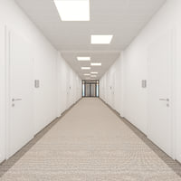 3D office hallway scene rooms model
