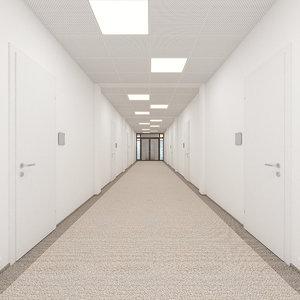 3D office hallway scene rooms model
