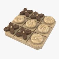tic-tac-toe wooden board 3D model