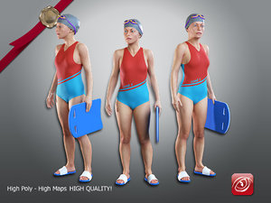 3D female swimming pool 001 model
