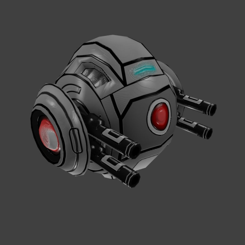 sci-fi sphere robot 3D model