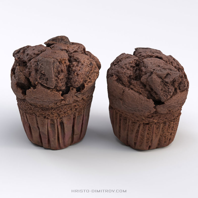 3D low-poly chocolate muffins