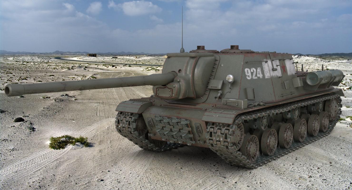3D model tank isu 122 russian
