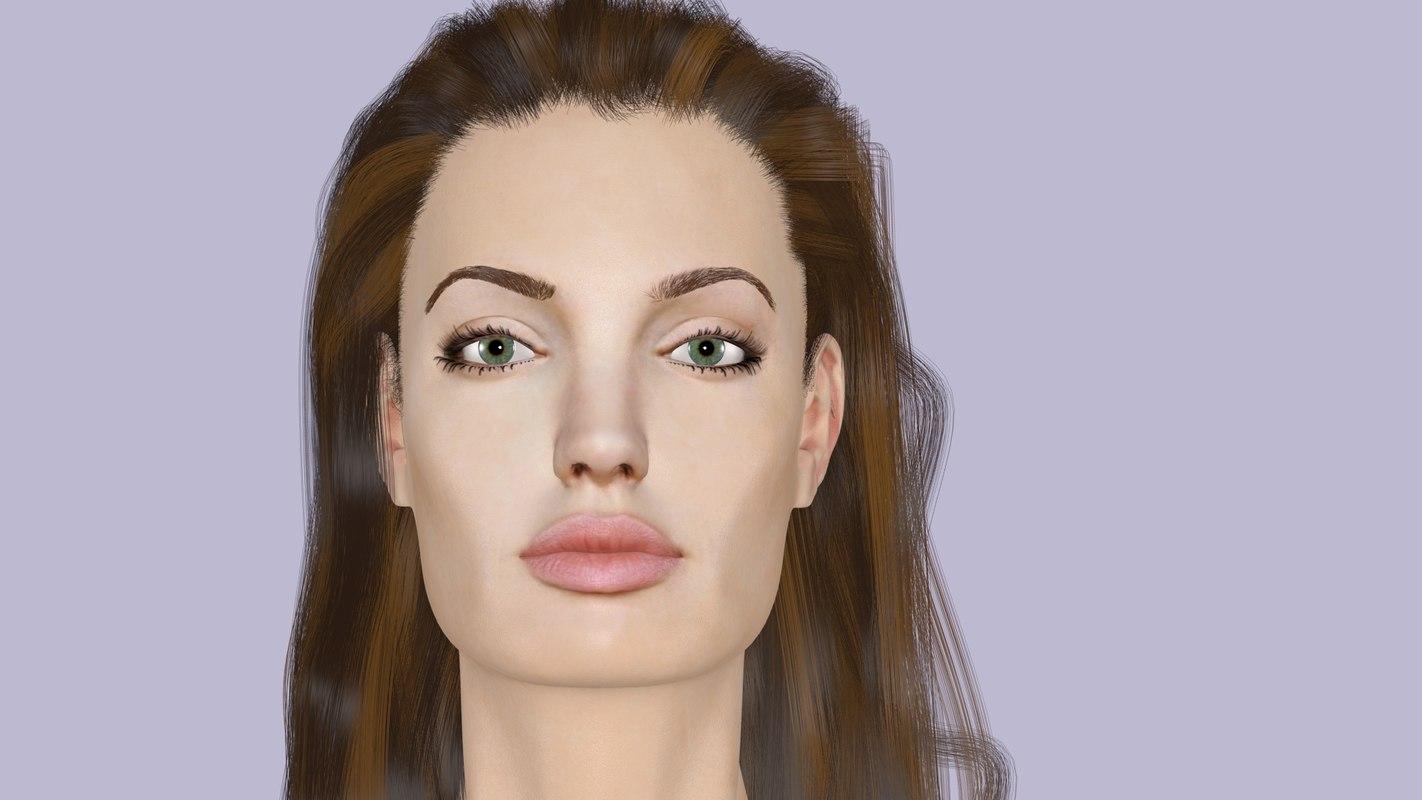 realistic angelina jolie 3D model