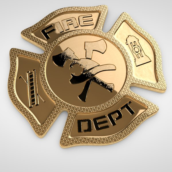 3D fireman badge model