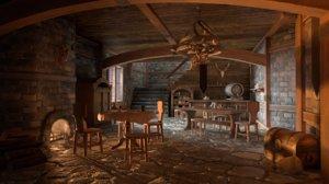 3D medieval interior