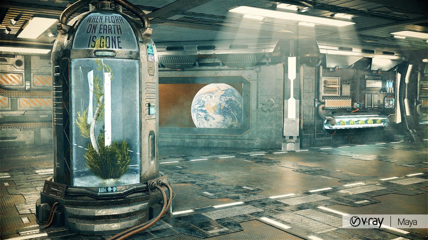 3D sci-fi corridor lab model