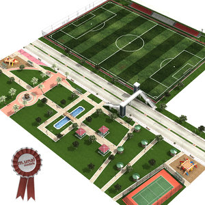 cityscape park soccer pitch 3D model