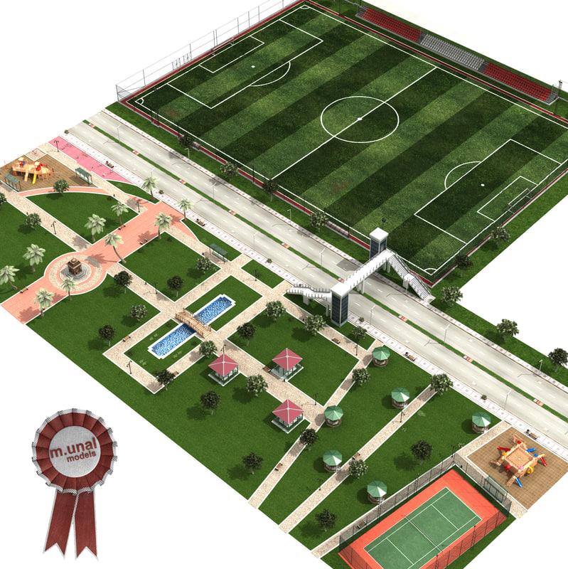 cityscape park soccer pitch 3D model