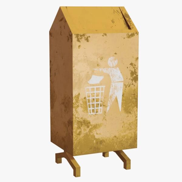 3D rubbish bin