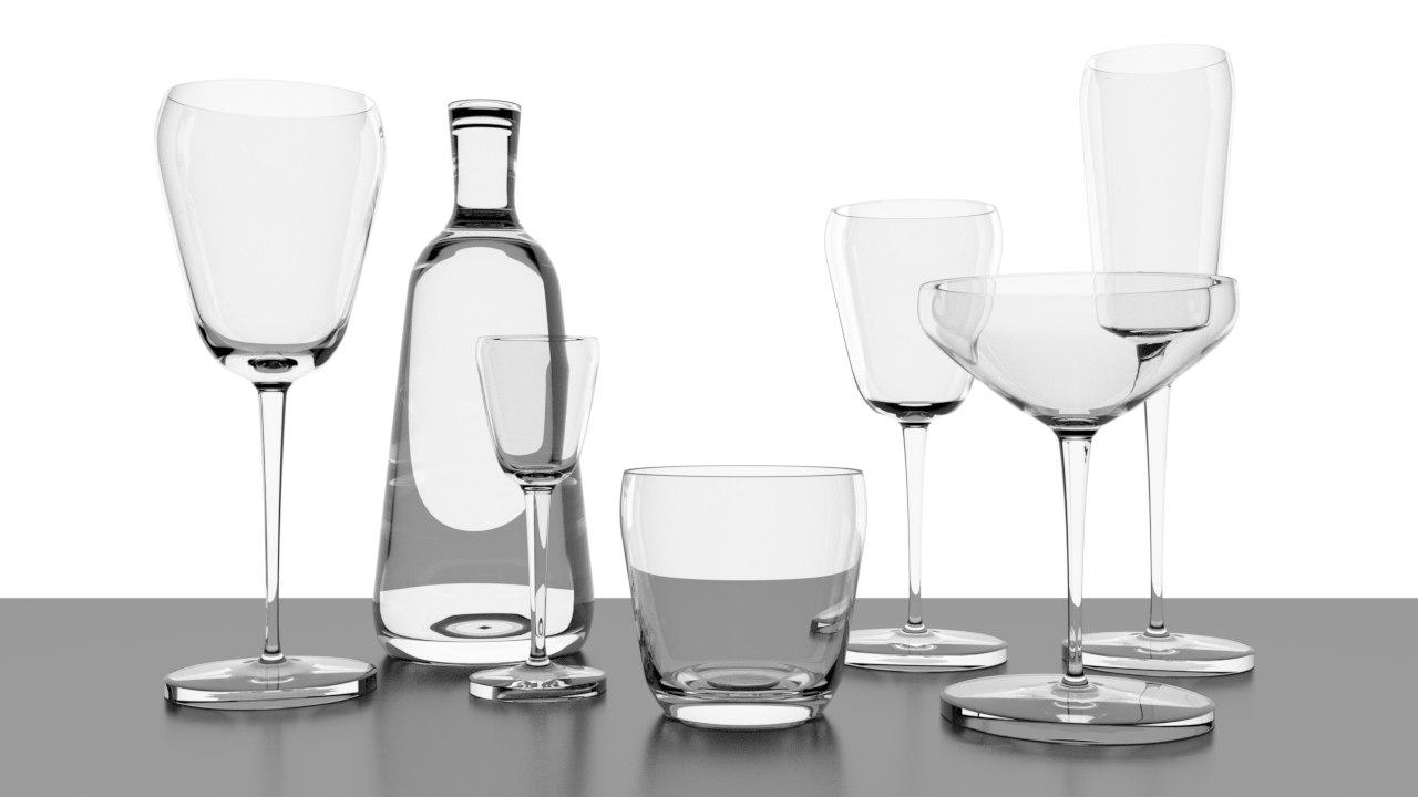 3D wineglass bottle