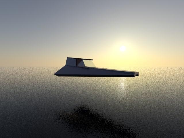 3D model future ship spaceship