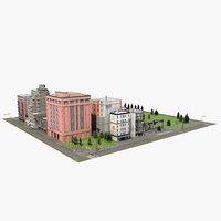 3D city block f details