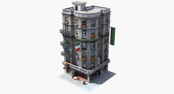 3D downtown cafe deli