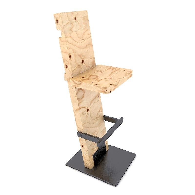3D barstool photoreal model