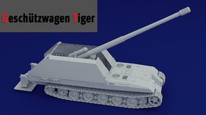 3D geschtzwagen tiger