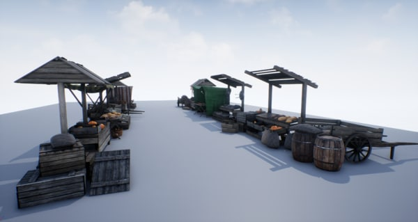 3D pbr medieval market