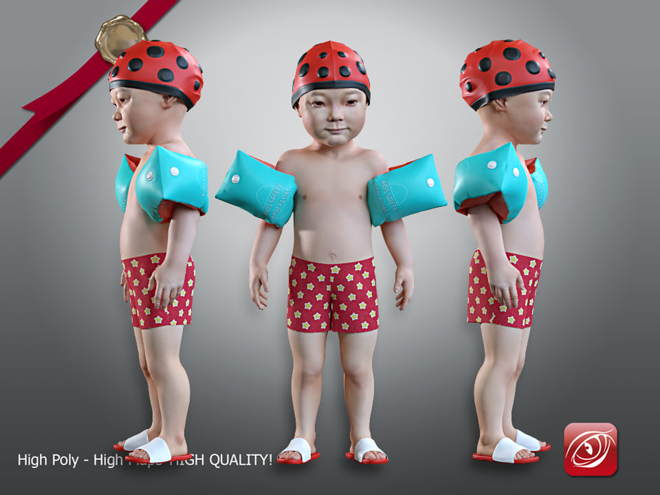 3D model child male swimming pool