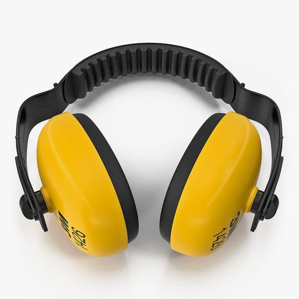 3D yellow working protective headphones model