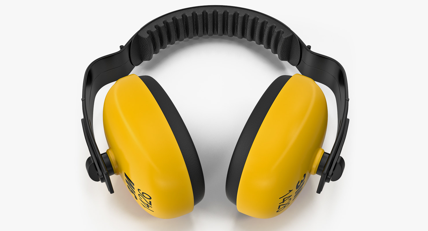 3D yellow working protective headphones model