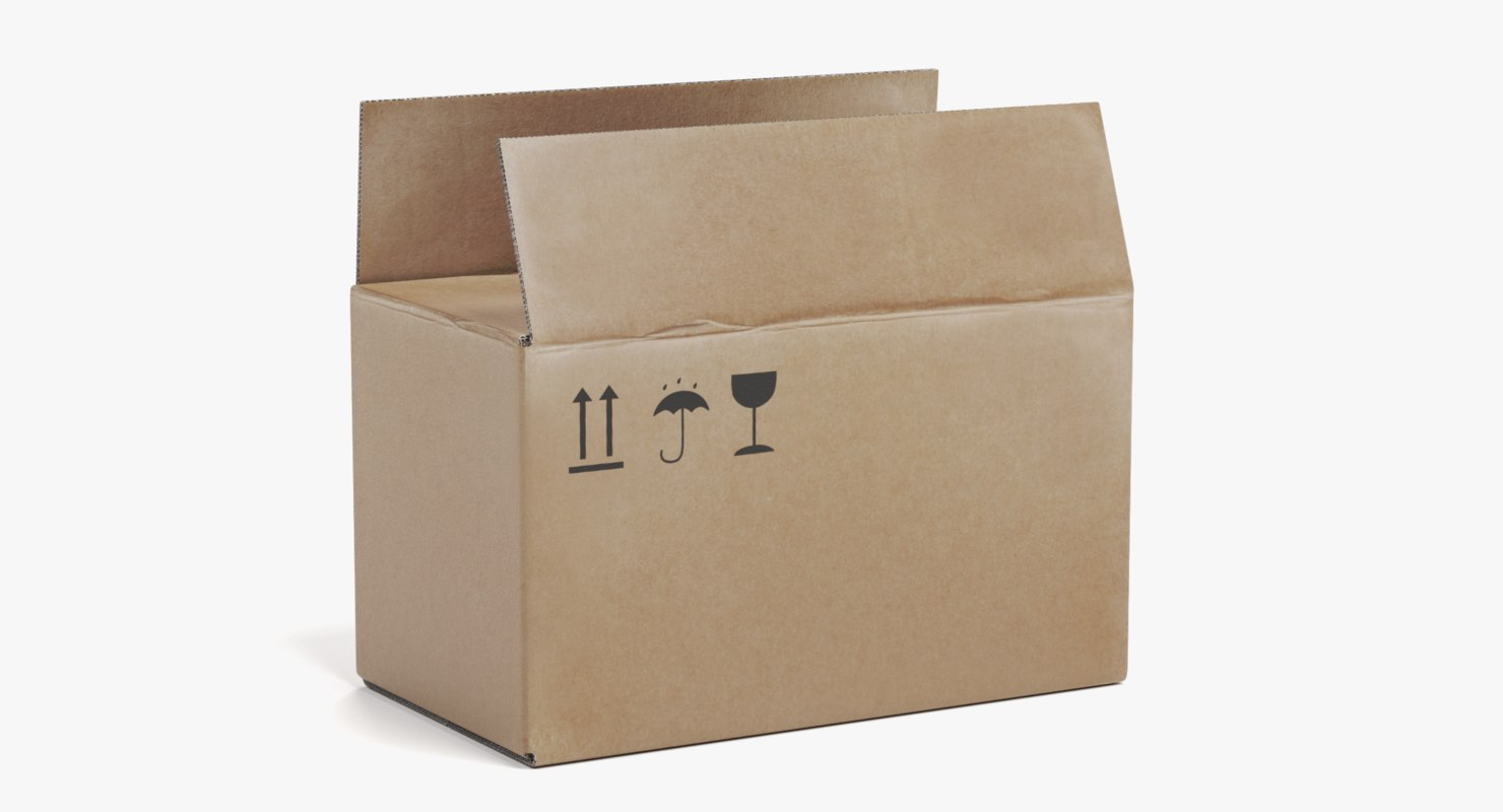3D cardboard box 1 model