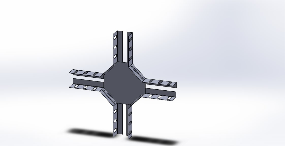 3D solidworks quadruple horizontal model