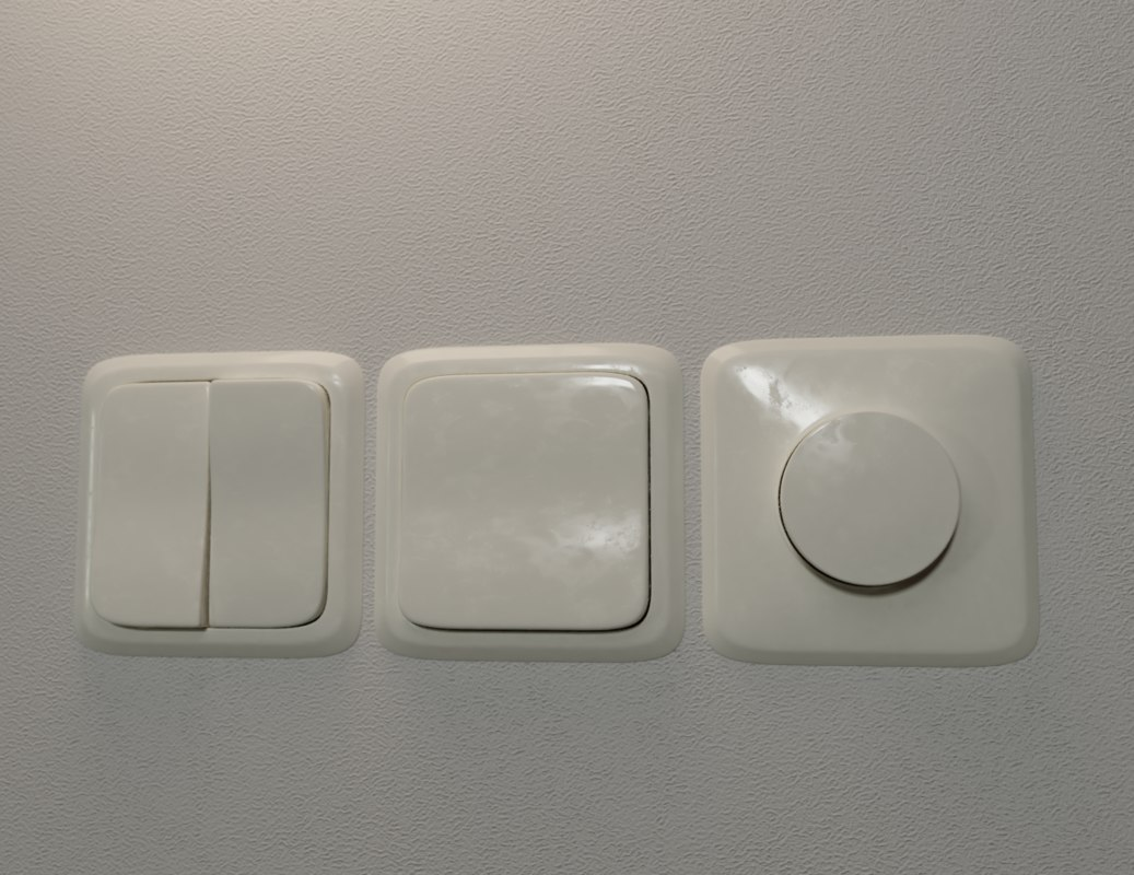 realistic wall light switch 3D model
