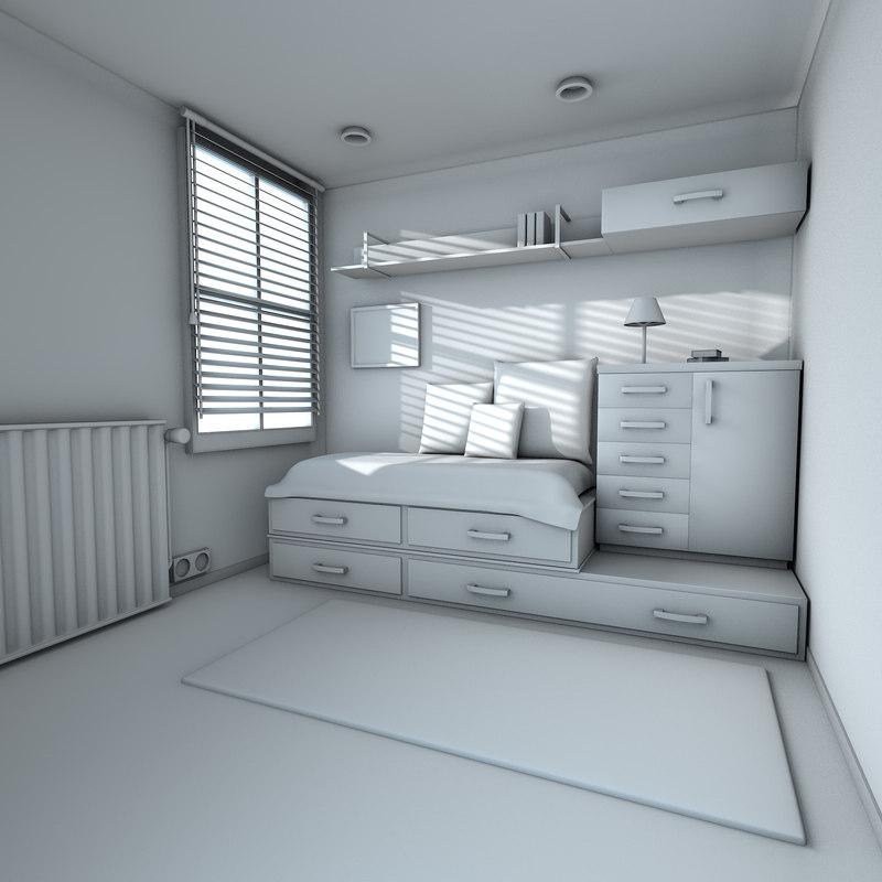 teen room bedroom interior model