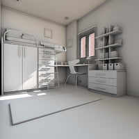elegant teen room interior 3D