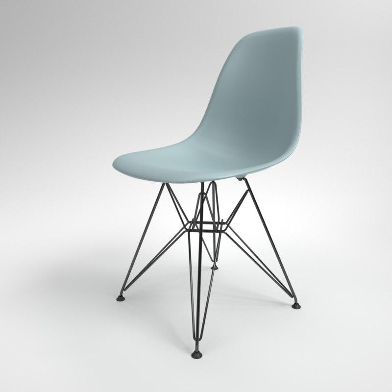 3D interior vitra eames plastic chair model