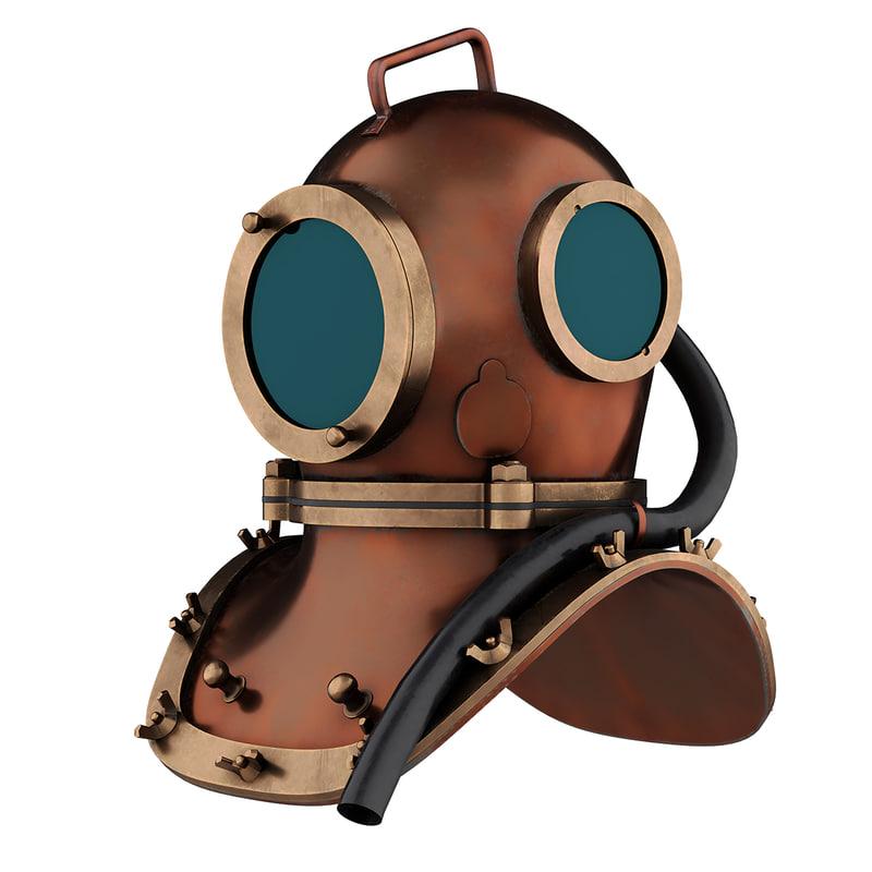 3D underwater diving scuba helmet