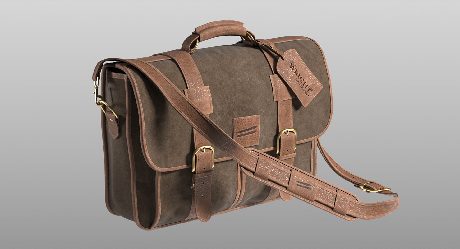 realistic leather bag wright brothers 3D model