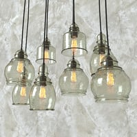 3D green pendant glass light