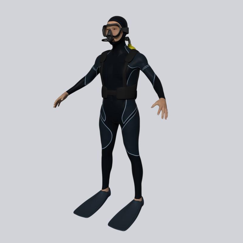 3D scuba diver model